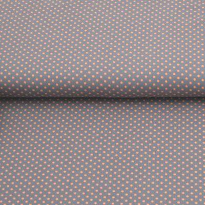 katoen stof stip-zalm-grijs