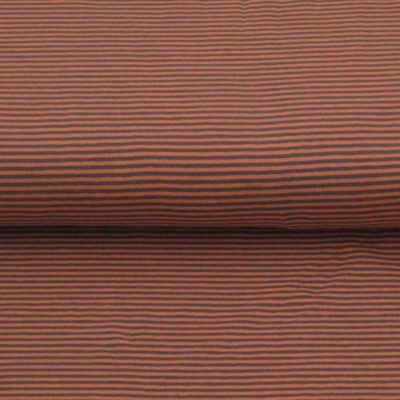 katoen stof streep-zalm-roze-grijs