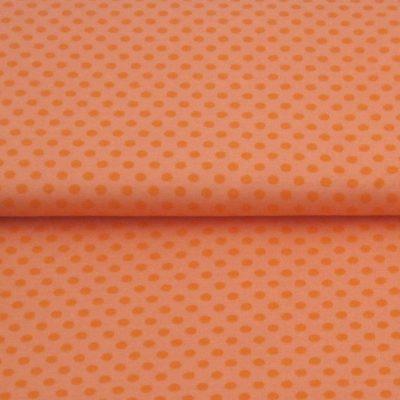 katoen stof stippen-neon-oranje
