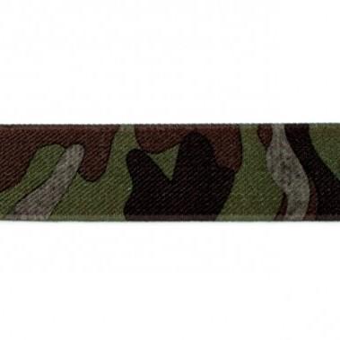 elastiek 25mm camouflage